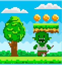 Pixel geek character pixelated green vector