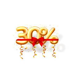 Sale 30 off ballon number on white background vector