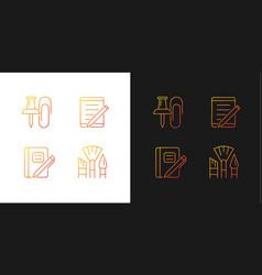 School stationery gradient icons set for dark vector