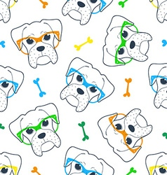 Seamless doodle hipster pattern with a boxer in vector