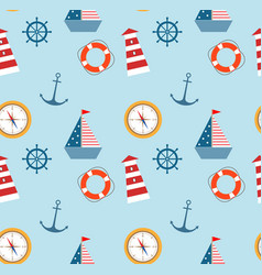 Seamless pattern of marine theme set vector