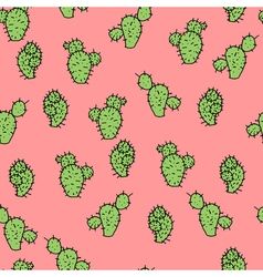 Seamless pattern with cactus prickly pea vector