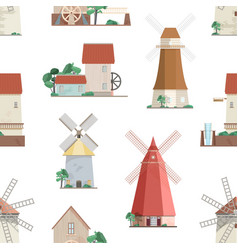 seamless pattern with various windmills on white vector image