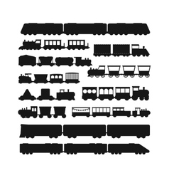 Set black silhouette silhouettes of trains vector