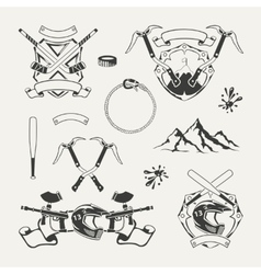 Set extreme sports emblems badges labels and vector