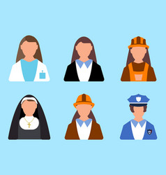 set of character worker icon man and woman label vector image