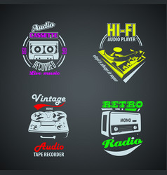 set of retro colored vintage logotypes vector image