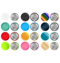 set real colorful rounded brooch front plastic vector image