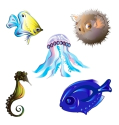 Set sea fish vector image