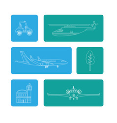 set transport air service vector image