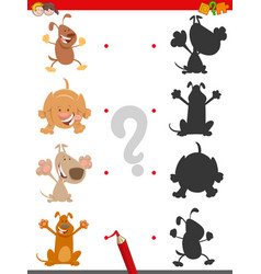shadow game with cute cartoon dogs vector image