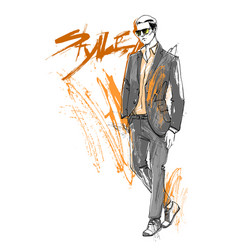 Shopping sale fashion collection style model male vector