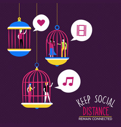 social distance people relationship concept vector image