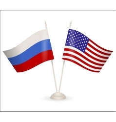 Table stand with flags of Russia and USA vector image