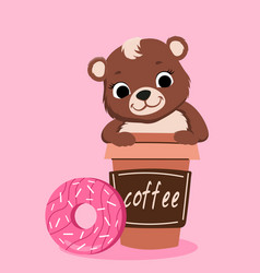 teddy bear with coffee and donuts vector image