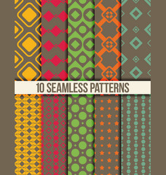 ten seamless geometric patterns vector image