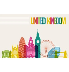Travel United Kingdom destination landmarks vector image