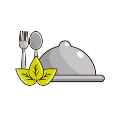 Tray with spoon and fork tools with leaves vector