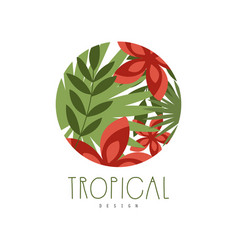 tropical logo design round geometric badge with vector image