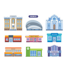 Urban buildings facades architectural structures vector