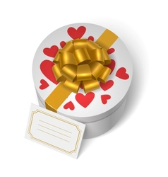 Valentines present box with red hearts vector image