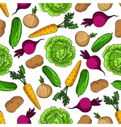 Vegetarian seamless pattern with fresh vegetables vector image