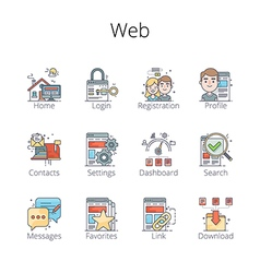 Web outline icons pr vector