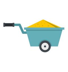 Wheelbarrow full of sand icon isolated vector