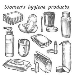 woman hygiene products sketch bathroom vector image