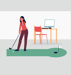 woman playing golf game on break at work flat vector image
