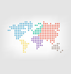 world map dotted style flat color design vector image