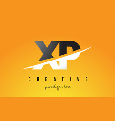 Xp x p letter modern logo design with yellow vector