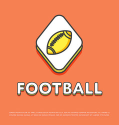 american football colour icon with ball vector image vector image