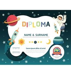 Certificate kids diploma kindergarten template lay vector