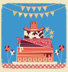 Cowboy happy birthday card for text vector