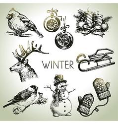 Hand drawn winter Christmas set vector image vector image