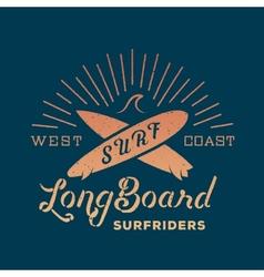 Long Board Surf Riders Abstract Retro Label vector image