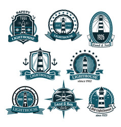 nautical lighthouse icons set vector image vector image