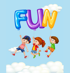 three kids and balloons for word fun vector image vector image