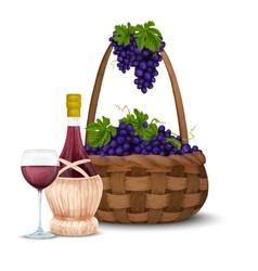 Wine grape and wine basket vector image