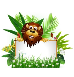 funny brown lion with blank sign vector image