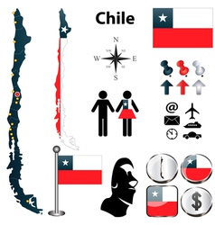 Map of Chile vector image vector image