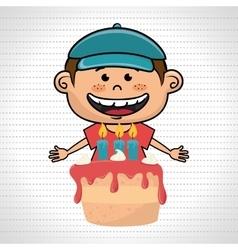 boy cake candles dessert vector image