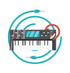 electric keyboard with headphone concept music vector image vector image