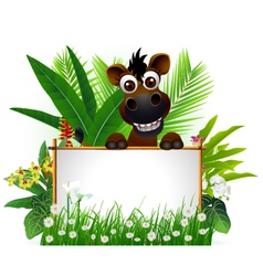 funny brown horse with blank sign vector image vector image