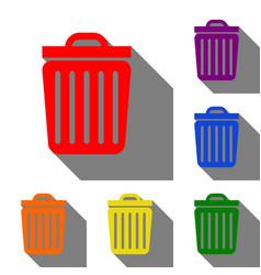 trash sign set of red orange vector image