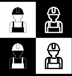 worker sign black and white icons and vector image