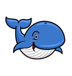 Blue baleen whale cartoon character vector image vector image