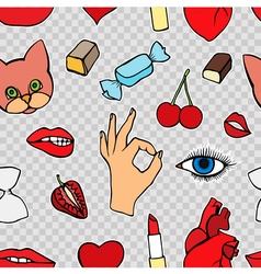 Fashion patch badges seamless pattern vector image