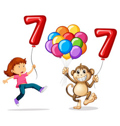 girl and monkey with balloon number seven vector image